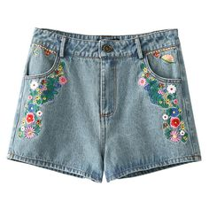 Light Blue Embroidery Pocket Zipper Denim Shorts (16.780 CLP) ❤ liked on Polyvore featuring shorts, bottoms, short, light blue jean shorts, short jean shorts, embroidered shorts, zipper pocket shorts and embroidered denim shorts