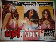 UK Quad, tripple bill feature poster for Russ Meyer's films UP / VIXEN / CHERRY, HARRY & Raquel. Classic poster.