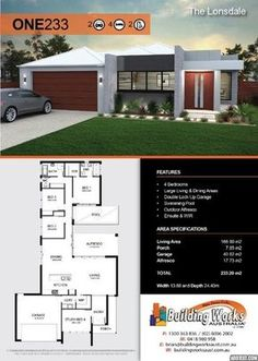 THE LONSDALE - 4 Bedrooms, large living/dining areas, porch, double garage, alfresco, bathroom, ensuite & WIR,. Total building: 233.20m2. Building width: 13.88m2, Building depth: 24.40m2. Living area: 166.80m2 Porch: 7.85m2 Garage: 40.82m2 Alfresco: 17.73m2 Our plans can be changed to accommodate our clients requirements and price point.  That's what makes our homes unique and custom built! #www.buildingworksaust. #sydneybuilder #homeplans #custombuilthomes