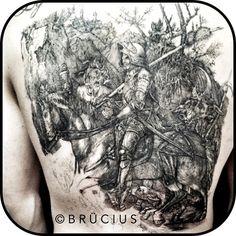 #BRÜCIUS #TATTOO #SF #Albrecht #Dürer #knight #death #devil #back #inprogress #linework #blackink #etching #engraving #gettingthere #linesonly