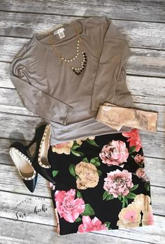 Flat Lay Inspiration. Honey and Lace California Tunic, and Honey & Lace Fullerton Floral Print Pencil Skirt with CINCH Belt are the perfect classy combination for work or play.