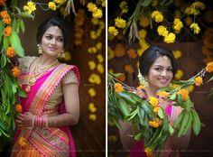 South Indian bride. Gold Indian bridal jewelry.Temple jewelry. Jhumkis.Gold and pink silk kanchipuram sari.Braid with fresh jasmine flowers. Tamil bride. Telugu bride. Kannada bride. Hindu bride. Malayalee bride.Kerala bride.South Indian wedding.