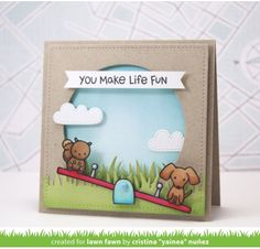 Tampons transparents 'Lawn Fawn' Let's Play - La Fourmi creative Fun Fold Cards, Pop Up Cards, Cute Cards, Dog Cards, Kids Cards, Card Making Inspiration, Making Ideas, Lawn Fawn Blog, Tampons Transparents