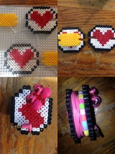 Headphones heart hama beads Perler Bead Templates, Diy Perler Beads, Pearler Beads, Pearl Beads Pattern, Hama Beads Patterns, Beading Patterns, Pixel Art Objet, Bead Crafts, Diy And Crafts