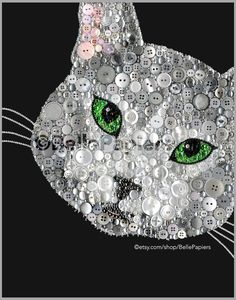 Button Art Cat Portrait | Button Art Canvas Cat Painting | Custom Cat Decor  This completely customizable Button Art Cat Portrait will be made-to-order with any coloring that you would like! To see a video of this pieces amazing sparkle, visit this link and dont forget to click HD: https://www.facebook.com/bellepapiers/videos/498913223614795/?l=1732120636714655963  If youre pleased with the photos of my work, youre not going to believe your eyes when you see your pieces beauty, sparkle, and…