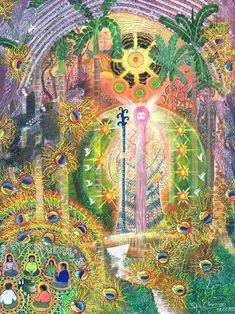 Pablo Amaringo é um famoso artista peruano, conhecido por suas artes detalhadas, coloridas que retraram suas visões sob o efeito do ayahuasca.