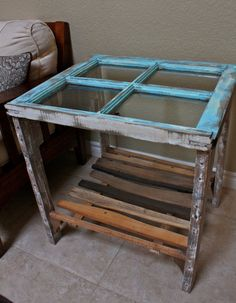 Reclaimed Window Side End Table with Shelf by dharmadesigned, $249.00