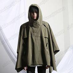 Men-Vintage-Black-Green-Casual-Cloak-Hooded-Anorak-Jacket-Shawl-Poncho-Coat-Cape