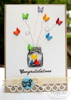 Idea to use with Perfectly Preserved jar. Congratulations card by Claudia. How to via Lily Pad cards Cute Cards, Diy Cards, Your Cards, Diy Creative Cards, Handmade Greetings, Greeting Cards Handmade, Tarjetas Diy, Mason Jar Cards, Karten Diy