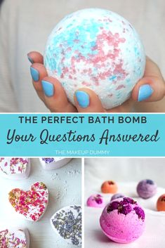 Your Bath Bomb Questions Answered - 7 common questions about making your own bath bombs at home. We'll talk about alternatives for citric acid, epsom salt, corn starch and more. From The Makeup Dummy blog. #handmade #homemade #diybathbombs #handmadebathbombs #homemadebathbombs #naturalbeauty #diygiftideas #diybathideas #diybeauty
