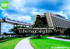 After countless vacations staying in a Disney resort, I finally discovered you can walk to the Magic Kingdom from the Contemporary. A Cinderella Story, Famous Castles, Adventures By Disney, Believe In Magic, Disney Quotes, Magic Kingdom, Disney Vacations, Hotels And Resorts, Walt Disney World