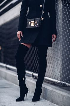 Balmain over the knee boots + Louis Vuitton Petite Malle bag