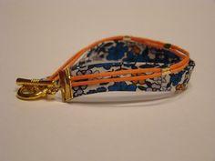 bracelet tissu bleu orange
