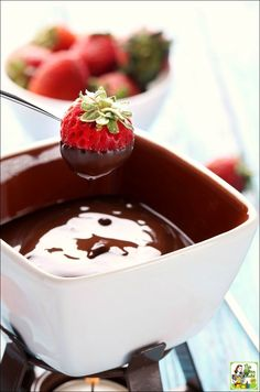 An easy dairy free chocolate fondue recipe. Perfect for Mother's Day, Valentine's Day, Girls Night In, birthday parties, or a romantic evening.