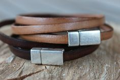 This minimalist but yet chic leather bracelet has been made with very high quality 5mm leather from Italy in chocolate brown or light brown. The leather is supple with a vintage look. This bracelet is very delicate and will complement a pair of jeans and a t-shirt or a more sophisticated outfit. It can actually be a woman bracelet or a man bracelet. Shop at www.alexille.etsy.com.  Follow Alexille on Facebook and Instagram and Pinterest @Alexille and visit my web site at www.alexille.com