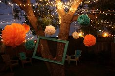 back yard party set up.. lights.. poms and a Big photo frame