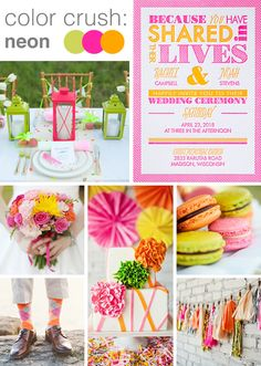 Neon colors are fresh and so much FUN!  @dawninvites shows you how to work this vibrant palette for your wedding: