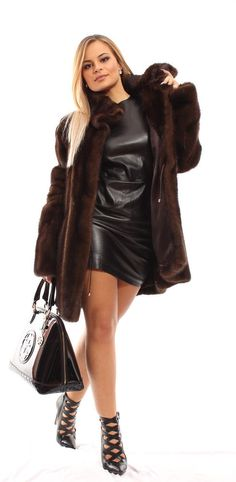 NEW MAHOGANY MINK Норка NERZ VISON HOOD FUR MEX PELZ COAT ШУБА UK18 US14 EU46 in Clothes, Shoes & Accessories, Women's Clothing, Coats & Jackets | eBay