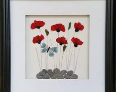 Stained Sea Glass Poppy Mosaics, Mother's Day Gift, Sea Glass Art, Coastal Wall Decor, Cornwall,