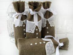 Burlap wine bottle bag-Burlap Wine Bag -Wine  Gift Wrap Fabric Bag-Set of 4. $37.00, via Etsy.