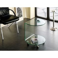 Cologne side table in clear bent glass with wheels - 7774 modern, contemporary living room furniture set clearance sale. Living Room Furniture Uk, Contemporary Living Room Furniture, Glass Furniture, Furniture Sets, Living Rooms, Coffee Table High Gloss, Glass Top Coffee Table, Furniture Packages, Glass Side Tables