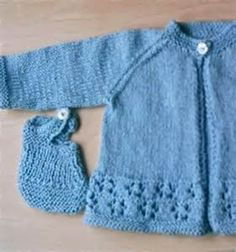 Hand Knitted Baby Clothes: Blue Matinee Jacket & Bootees