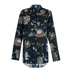 Adam Lippes Floral-print cotton shirt (46,350 INR) ❤ liked on Polyvore featuring tops, floral print tops, blue floral top, cotton shirts, floral shirt and embellished shirt