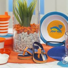 Under the sea baby shower. Centerpiece idea.  Continuing the idea of decorating with baby stuff?