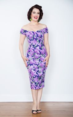 Scarlett Pin Up Dress in Navy with Lilac Print #bernie-dexter #burlesque #dress #france #french #halter-dress #pinup #pinup-dress #poppies #poppy #rockabilly #wholesale