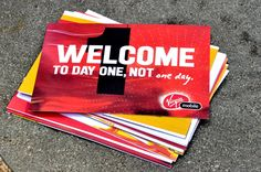 """A series of """"note cards"""" was created to welcome new employes to Virgin Mobile. The cards were meant to resemble senior employees note cards that would then be passed on to freshman. Welcome New Employee, Company Swag, Employee Handbook, Swag Ideas, Employee Wellness, Welcome Letters, Employee Engagement, Kit, Work Inspiration"""