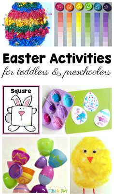Must-try Easter activities for toddlers and preschoolers. Be sure to grab the free printable rabbit shape mats while you're there! #FunADay #EasterActivities #EasterCrafts #Easter #PreschoolActivities #PreK #FreePrintable #Toddlers #ToddlerActivities
