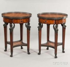 Pair of Theodore Alexander French Empire-style Parquetry Gueridons - Current price: $300
