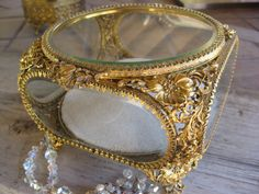 Jewelry Casket Vintage 50s 24kt  Beveled Glass  by TanaBarisoff, $145.00