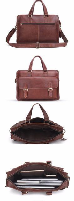 Briefcase For Men, Leather Briefcase, Laptop Shoulder Bag, Bags, Handbags, Bag, Totes, Hand Bags