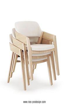 Stapelbare Designstühle aus Holz mit komfortabler Polsterung.  Sperrholz Lamelle mit sichtbaren Kanten bildet Sitzfläche und   Rückenlehne. Niedrige, abfallende Armlehnen ermöglichen platzsparende Position am Tisch.    Vielseitige Verwendung als Esstisch Stühle, Bankettstühle,   Konferenzstuhl, Sessel Wohnzimmer     Erstinformation und Beratung unter  43 699 15990977.    Stühle aus europäischer Produktion.    #sitzmoebel, #konferenzstuhldesign, #RiesProDesign Outdoor Chairs, Outdoor Furniture, Outdoor Decor, Esstisch Design, Modern, Interior Design, Trends, Home Decor, Fine Dining