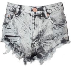 Grey Acid Wash Frayed Denim Hotpants ($46) ❤ liked on Polyvore featuring shorts, bottoms, pants, grey, high waisted short shorts, denim short shorts, ripped denim shorts, high-waisted denim shorts e distressed denim shorts