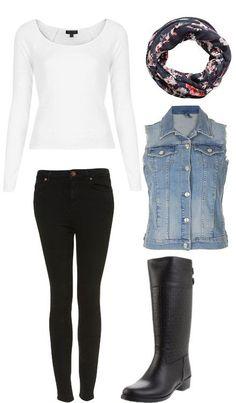 Resultado de imagen para outfit chaleco de jean negro