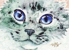 Smooshed Face Kitten Cat by GeocachingOdder on deviantART   WATERCOLOR