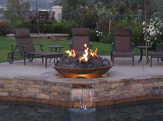 DIY Glass Fire Pit - raised copper bowl