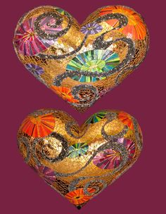 Ridiculously awesome mosaic hearts by Laurel True