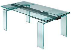 Scopri Tavolo con prolunga Gauss -/ L 180 a 284 cm, Trasparente / Barra alluminio di FIAM, Made In Design Italia