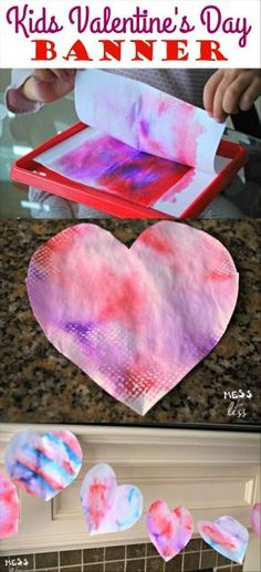 If you are looking for some ideas for Valentine's Day crafts for kids look no further. Kids will love making these beautiful art prints which they can turn into a festive banner.