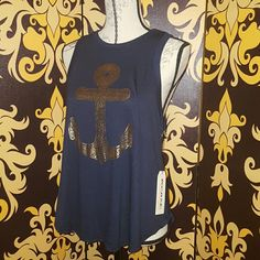 """⚓⚓Metallic anchor tank BNWT anchor metallic tank,  navy blue and gold.  25"""" long in the back 22"""" in the front. Tops Tank Tops"""