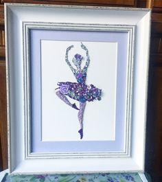 Ballerina button art / mixed media art