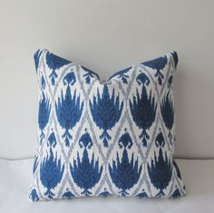 Blue Ikat Pillow Cover 18x18 20x20 Decorative Throw Pillow, Accent Pillow, Toss Pillow by IndigoBlissBoutique on Etsy https://www.etsy.com/listing/169588940/blue-ikat-pillow-cover-18x18-20x20