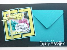 Joy Fold verjaardagskaart gemaakt met Stampin' Up! producten Perfect Picture Birthday stempelset Perfect Picture Party Designer Series Paper Deze kaart is in januari 2018 het Happy Mail Swap project bij de Facebookgroep Online Stampin' Party. www.carooskaartjes.blogspot.com