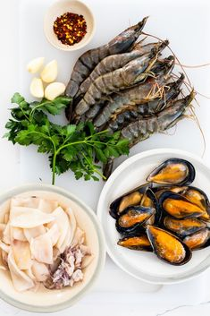 Seafood, herbs and garlic. #seafood #pescatarian Seafood Pasta Recipes, Yummy Pasta Recipes, Fish Recipes, Dinner Recipes, Delicious Recipes, Dinner Ideas, Frozen Seafood, Pasta Shapes, Vegetable Sides