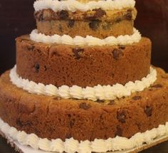tiered chocolate chip cookie cake -