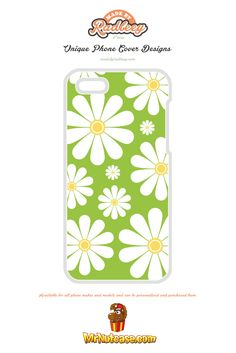 Summer Flowers on Green phone case available for all phone makes and models and can be personalised and purchased from www.mrnutcase.com