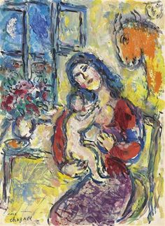 #art #painting Marc Chagall - Motherhood at the window
